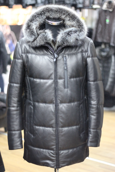 Пуховик мужской кожаный ПМ-СТ 11 1776-2   Магазин Kupideri 75e61ae3c60